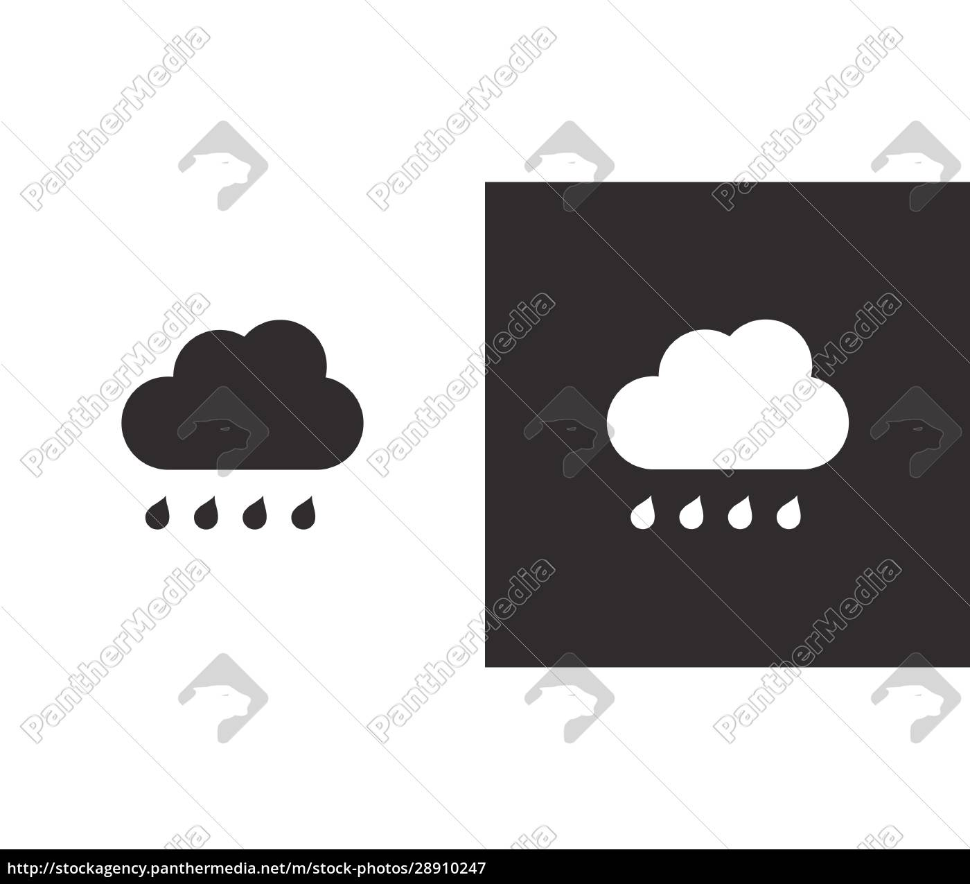 cloud, and, raindrop., isolated, icon, on - 28910247