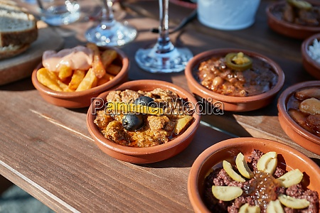 tapas served in many small plates