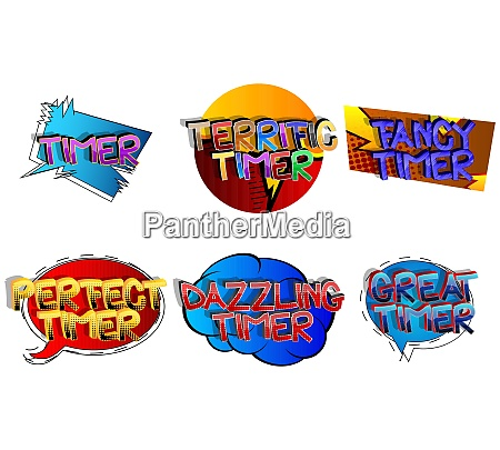 timer comic book style cartoon words