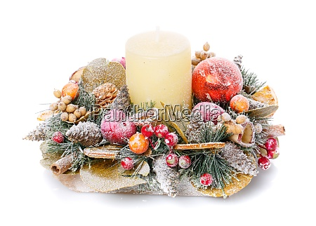 christmas still life with candle and
