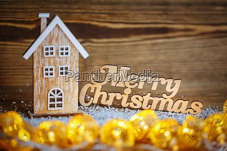 merry christmas inscription house house interior