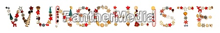 colorful christmas decoration letter building wunschliste