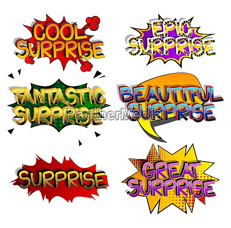 surprise comic book style cartoon words