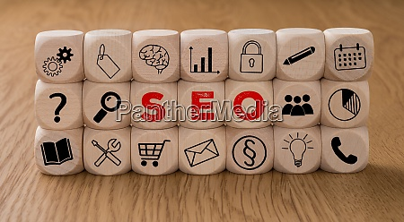 dice with icons and the word