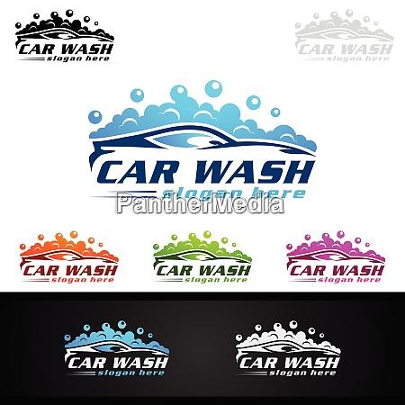 car wash logo with car silhouette