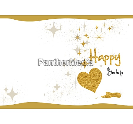 birthday card with gold glitter and