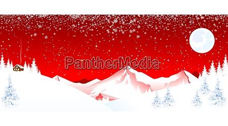 mountain, landscape, winter, night, christmas - 28917339