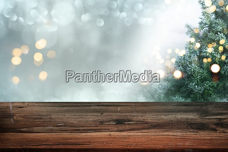 christmas background with blank table