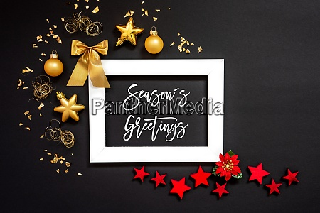 frame red and golden christmas decoration