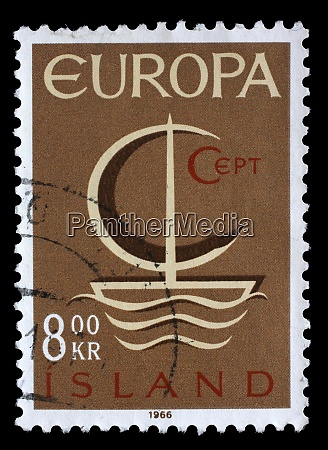 stamp issued in iceland shows stylized