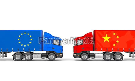 trucks with european and chinese flags