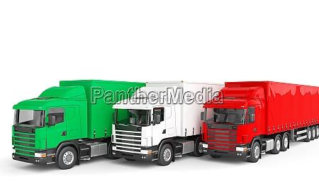 cargo truck with italian flag concept
