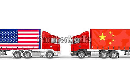 trucks with usa and chinese flag