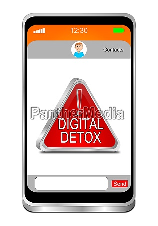 smartphone with red digital detox