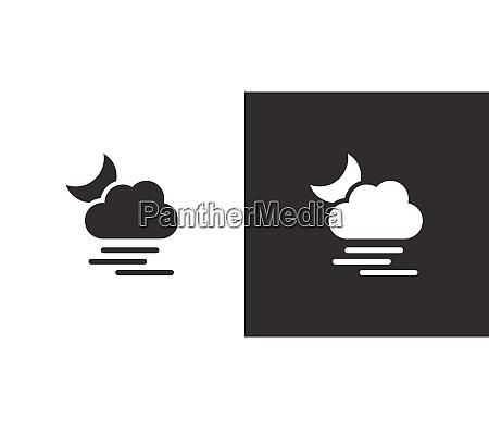 heavy fog cloud and moon isolated