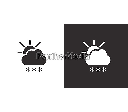 heavy snow and sun isolated icon