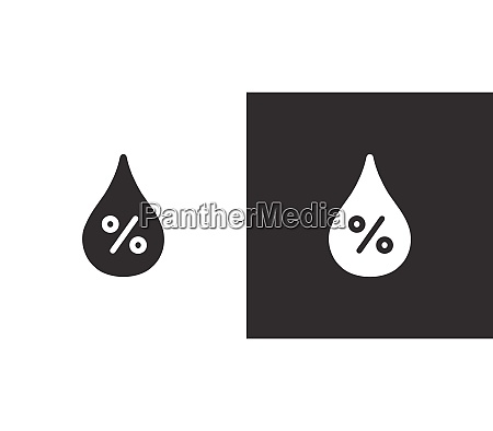 humidity percent isolated icon on black