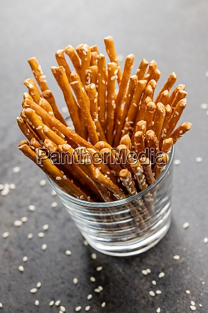 salty sticks crunchy pretzels with sesame