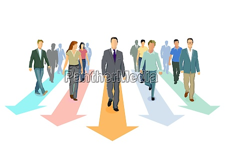 direction forward and progress together concept