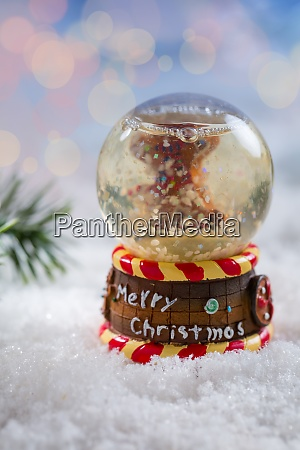 snowball on snow with blurry background