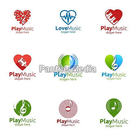 music logo with note and play