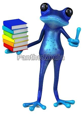 fun blue frog 3d illustration