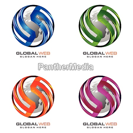 global logo with ring sphere and