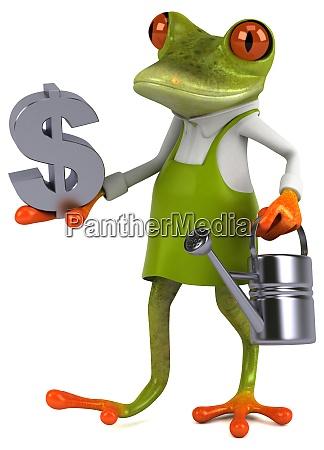 fun frog gardener 3d illustration