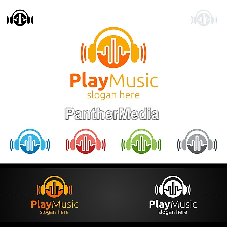 abstract music logo with note and