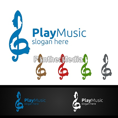 music logo with note and face