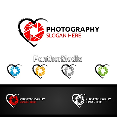 abstract love camera photography logo
