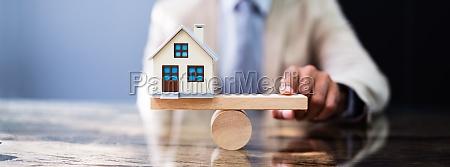 wooden seesaw house balance
