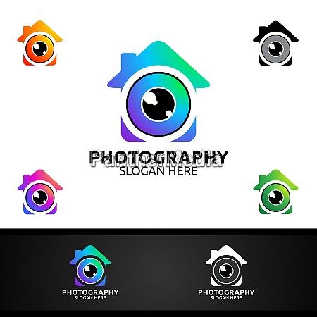 home camera photography logo icon vector