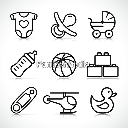 vector newborn baby icons set