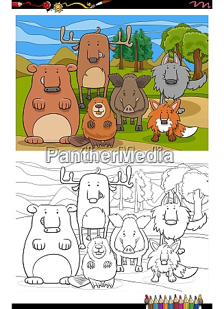 cartoon funny wild animals group coloring
