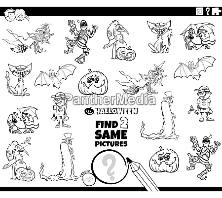 find two same halloween characters game