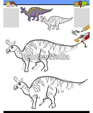 drawing and coloring task with lambeosaurus