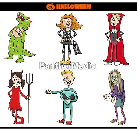 children in halloween costumes set cartoon