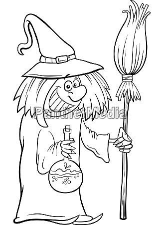 witch halloween character cartoon coloring book