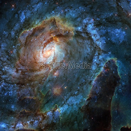 spiral nebula and light ray in