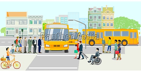 public transport with bus stop vector