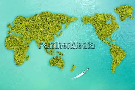 aerial view small green island that
