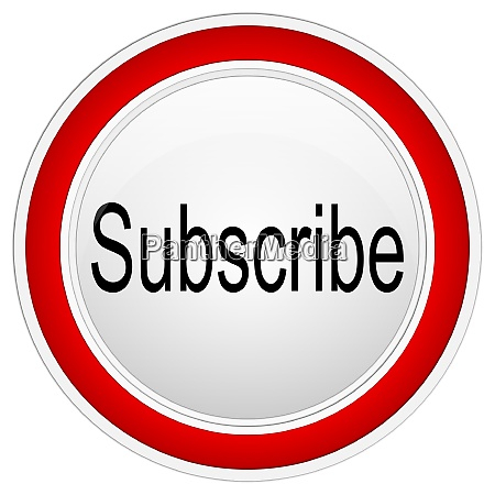red subscribe button on white background