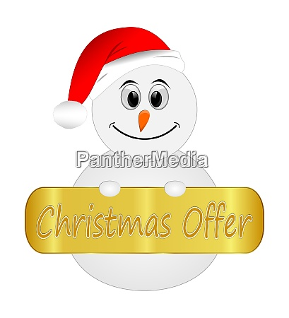 snowman with golden christmas offer label