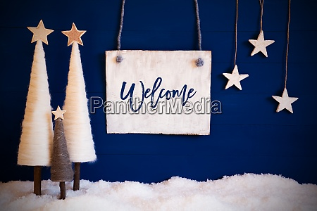 christmas tree blue background snow text
