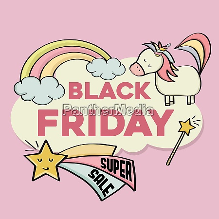 black friday banner with magical elements