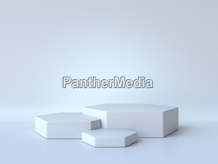 white hexagons stage 3d