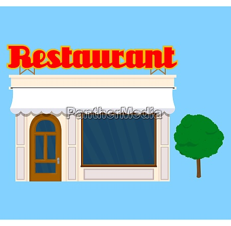 old restaurant building illustration in a