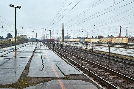 railway station with passaenger train