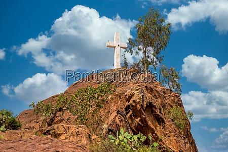 white cross on hil aksum ethiopia